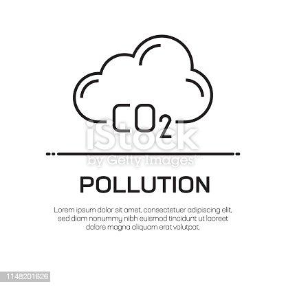 Pollution Vector Line Icon - Simple Thin Line Icon, Premium Quality Design Element