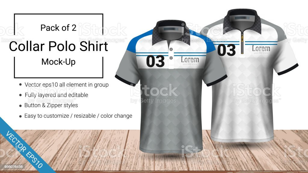 Polo Kragen Tshirt Vorlage Vektor Eps10 Datei Vollständig ...