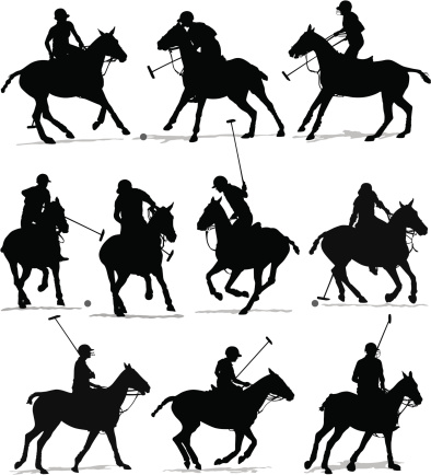 Polo Player Horses Silhouette Set