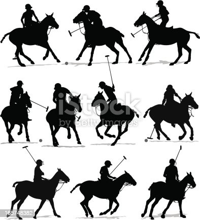 Detailed vector silhouettes of Polo players.