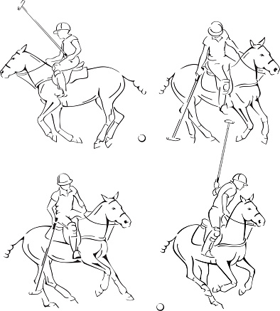 Polo Player Line Art