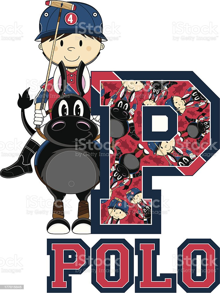 Polo Player on Horse Learning Letter P royalty-free stock vector art