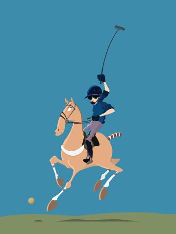 Polo player riding his horse
