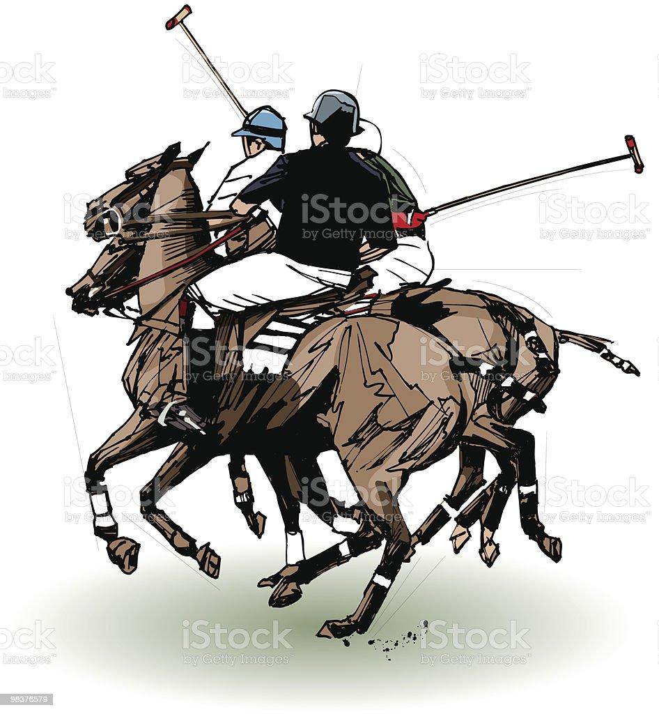 Giocatori di polo (mano disegno giocatori di polo mano disegno - immagini vettoriali stock e altre immagini di ambientazione esterna royalty-free