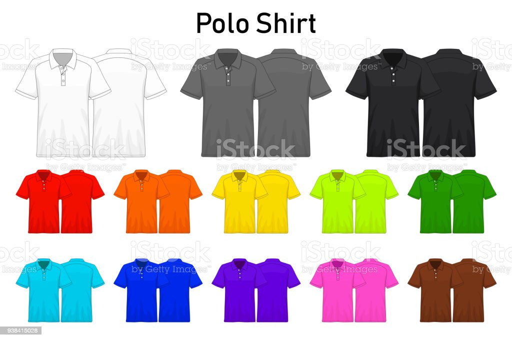 Polo Shirt color collection set for your design , mockup advertising , blank for printing , vector illustration , white black grey red orange yellow green blue purple pink brown color