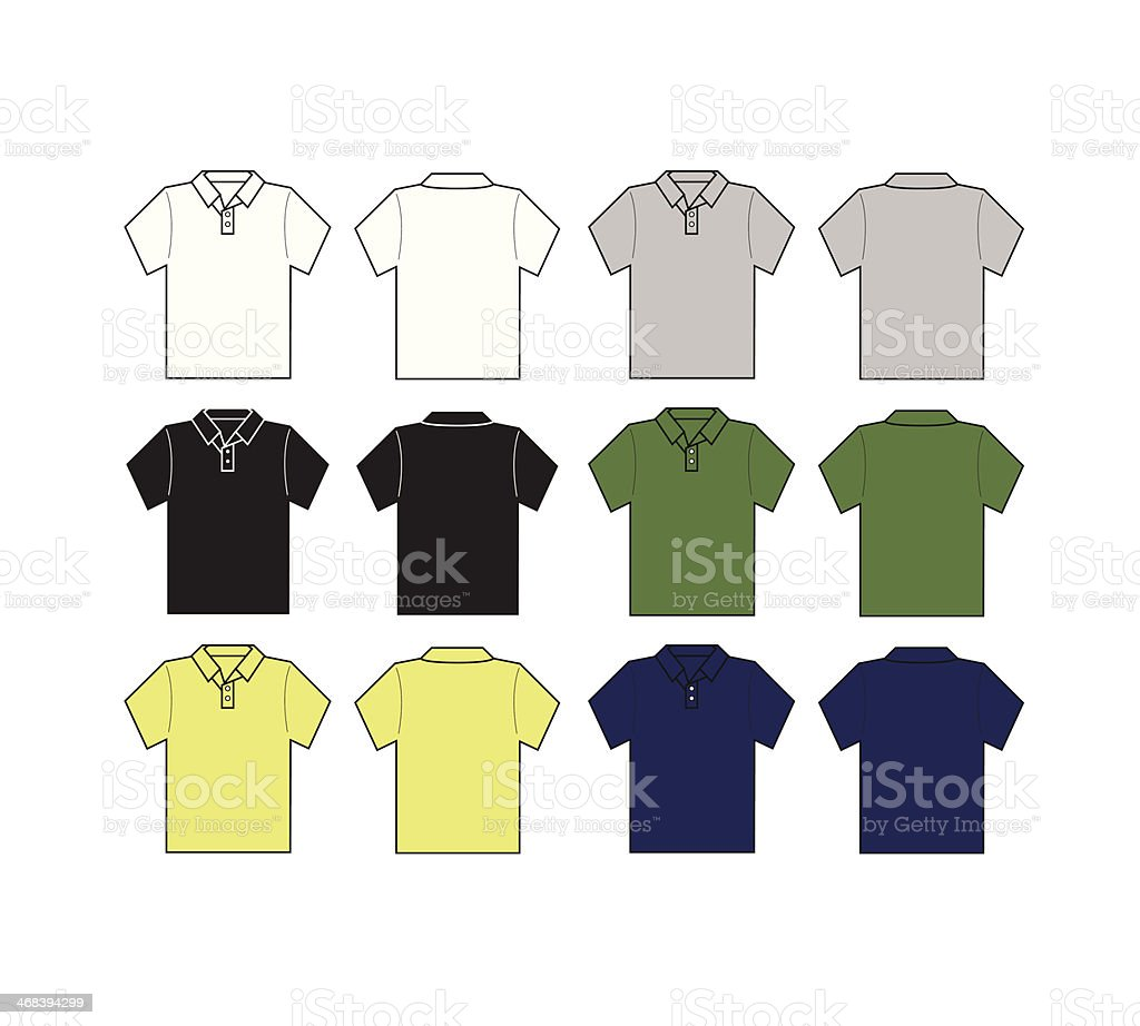 polo shirt front and black with different color template royalty-free stock vector art