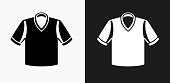 Polo Shirt Icon on Black and White Vector Backgrounds. This vector illustration includes two variations of the icon one in black on a light background on the left and another version in white on a dark background positioned on the right. The vector icon is simple yet elegant and can be used in a variety of ways including website or mobile application icon. This royalty free image is 100% vector based and all design elements can be scaled to any size.