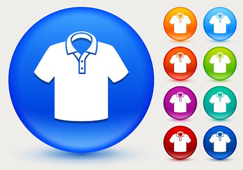 Polo Shirt Icon on Shiny Color Circle Buttons