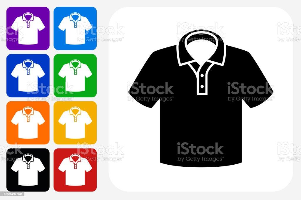 Polo Shirt Icon Square Button Set vector art illustration