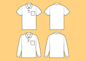 Polo shirt Short sleeve, Long sleeve Template, Vector Illustration