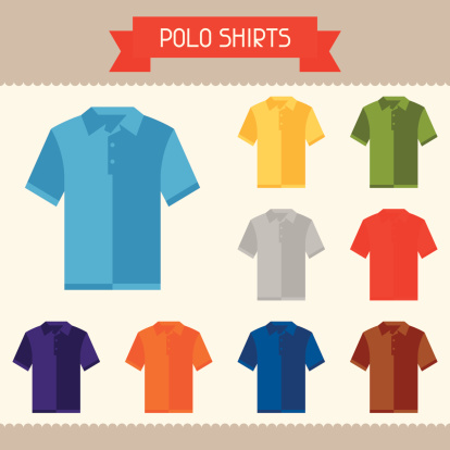 Polo shirts colored templates for your design in flat style.