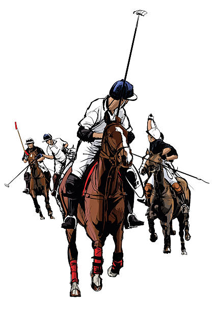 polo sport player on horseback - reiter stock-grafiken, -clipart, -cartoons und -symbole