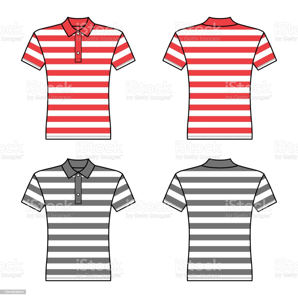 Polo Striped T Shirt Man Template Front Back Views Royalty Free