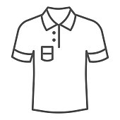Polo thin line icon, Summer clothes concept, unisex shirt sign on white background, casual t-shirt icon in outline style for mobile concept and web design. Vector graphics