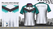 Polo t-shirt with zipper, Racing uniforms mockup template for Active wear and Sports clothing, such as, Racing apparel, Karting, Pit crew, Mechanic overalls, Everything is edible and Color change.