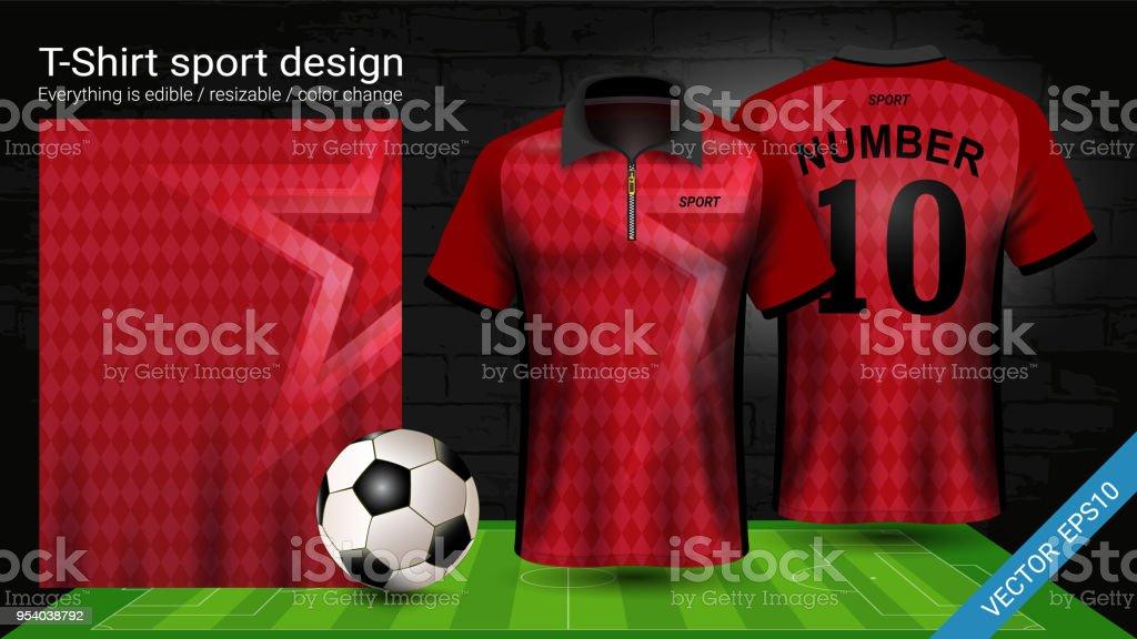 Ilustración de Camiseta Polo Con Cremallera Fútbol Jersey Deporte ... b37a1f2c0edd5