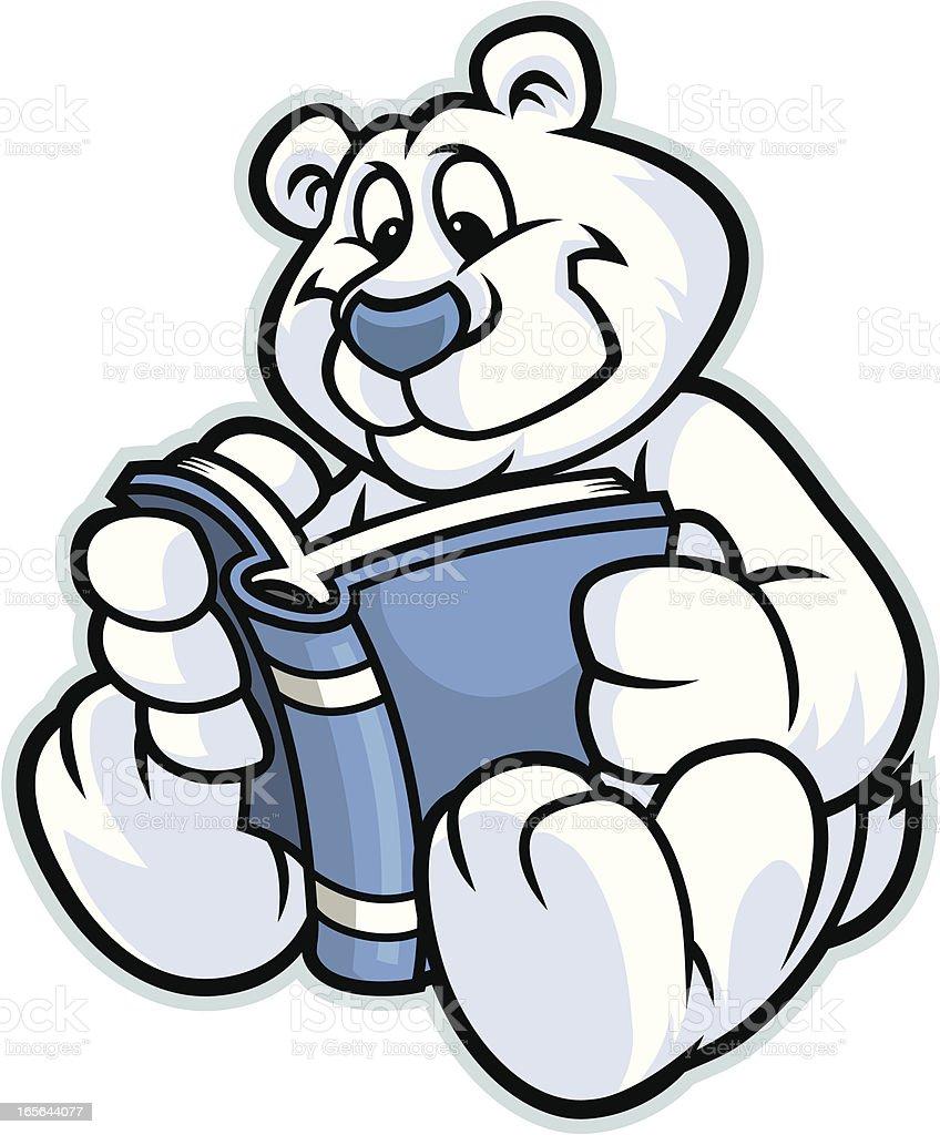 Polsr Bear Reading vector art illustration