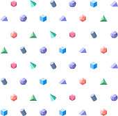 Polygon 3d objects Seamless geometric pattern