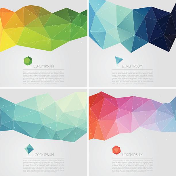 stockillustraties, clipart, cartoons en iconen met polygon abstract backgrounds with text - veelvlakkig