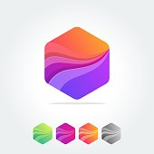 modern abstract logo element designs in polygonal triangular geometric compositions- colorful business design icon shapes