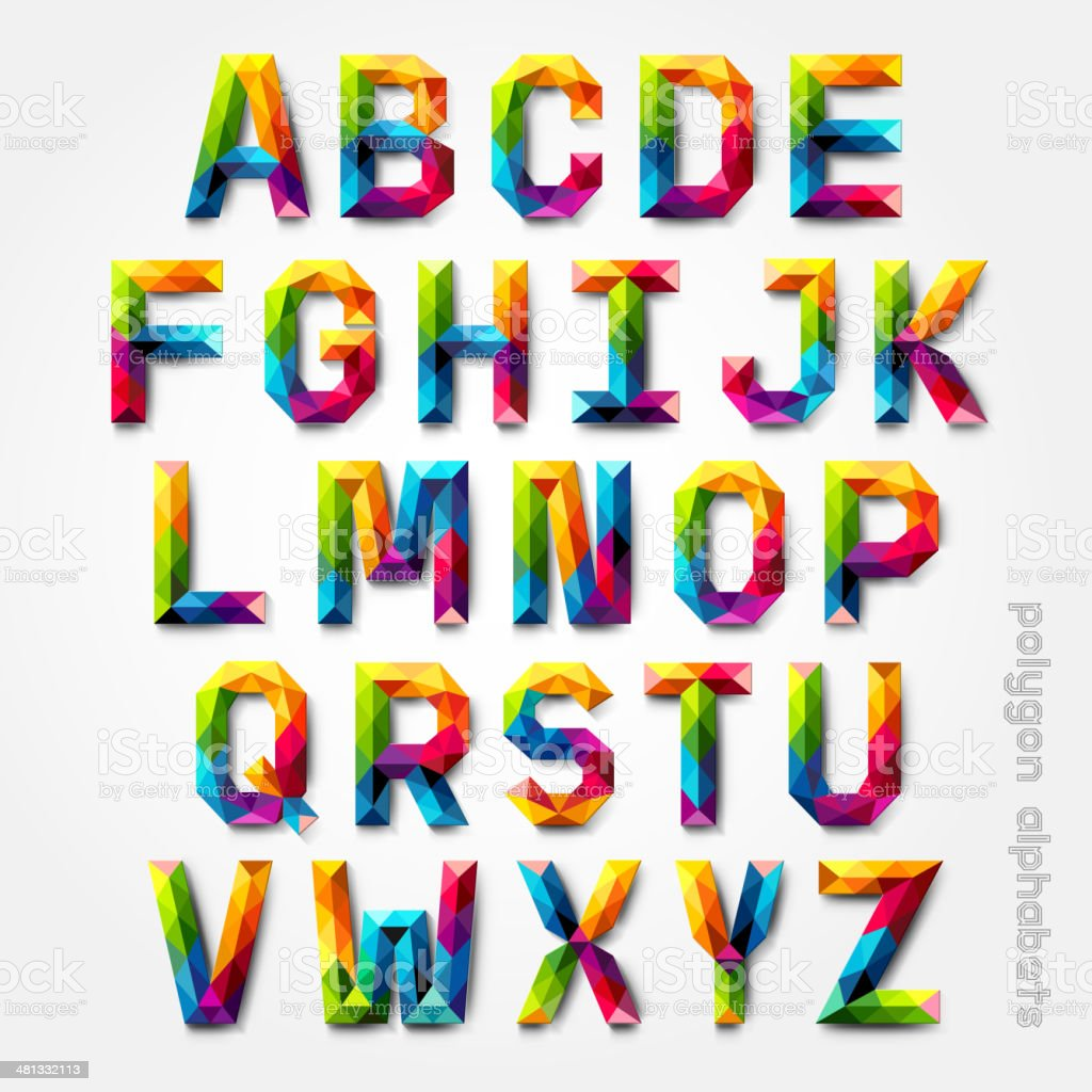 Polygon alphabet colorful font style. vector art illustration