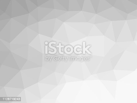 istock Polygon background pattern - polygonal - black and white wallpaper gray - vector Illustration 1128719243