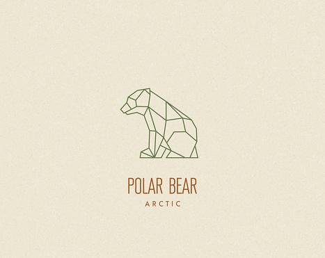 Polygon bear baby silhouette