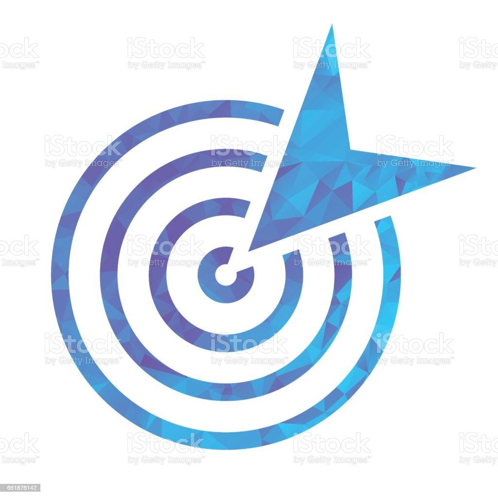 polygon blue icon goal vector art illustration