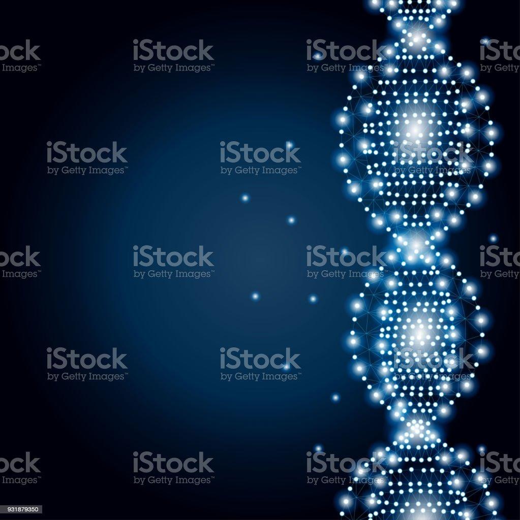DNA polygon blue, stars 2-3 vector art illustration