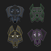 polygon cartoon colored dogs on a black background, contour origami style