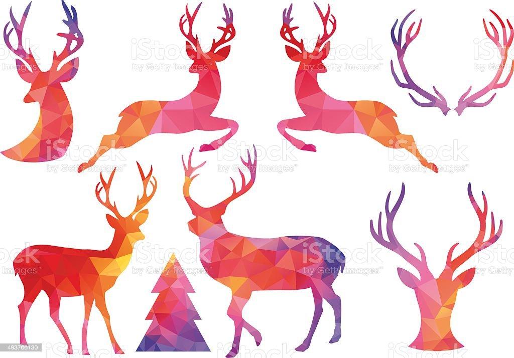 Polygon Christmas deer, vector set vector art illustration