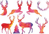 Polygon Christmas deer, vector set