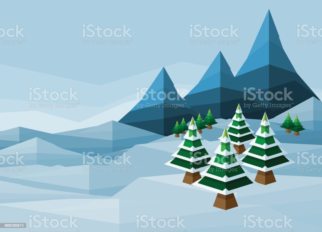 Polygon Christmas Snow Winter Background vector art illustration