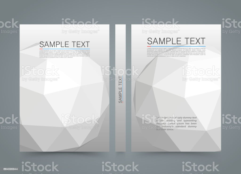 Polygon Cover Banner 3d Sphere Book A4 Size Paper Template Design Element
