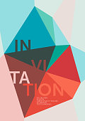 Geometric vector template for invitations with a crystal like composition, based on polygons and triangles in turquoise and red; including space for copy text.