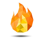 Polygon Fire Icon on white background