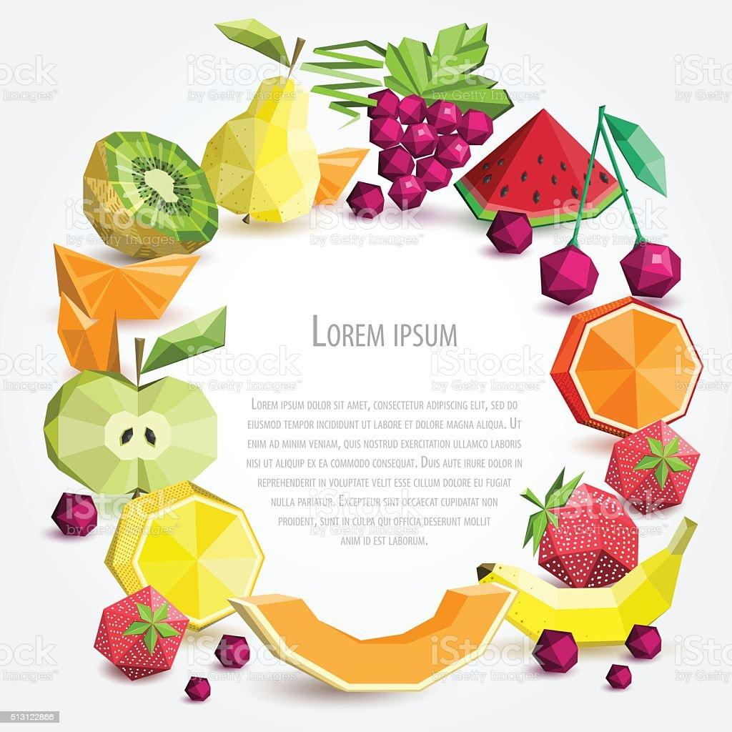 Polygon Obst Festgelegt Vektor Runden Rahmen Stock Vektor Art und ...