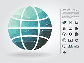 polygon global symbol with communication icon