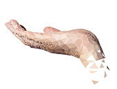 Polygon High Tech Hand Palm Up Holding Invisible Object, White Background.