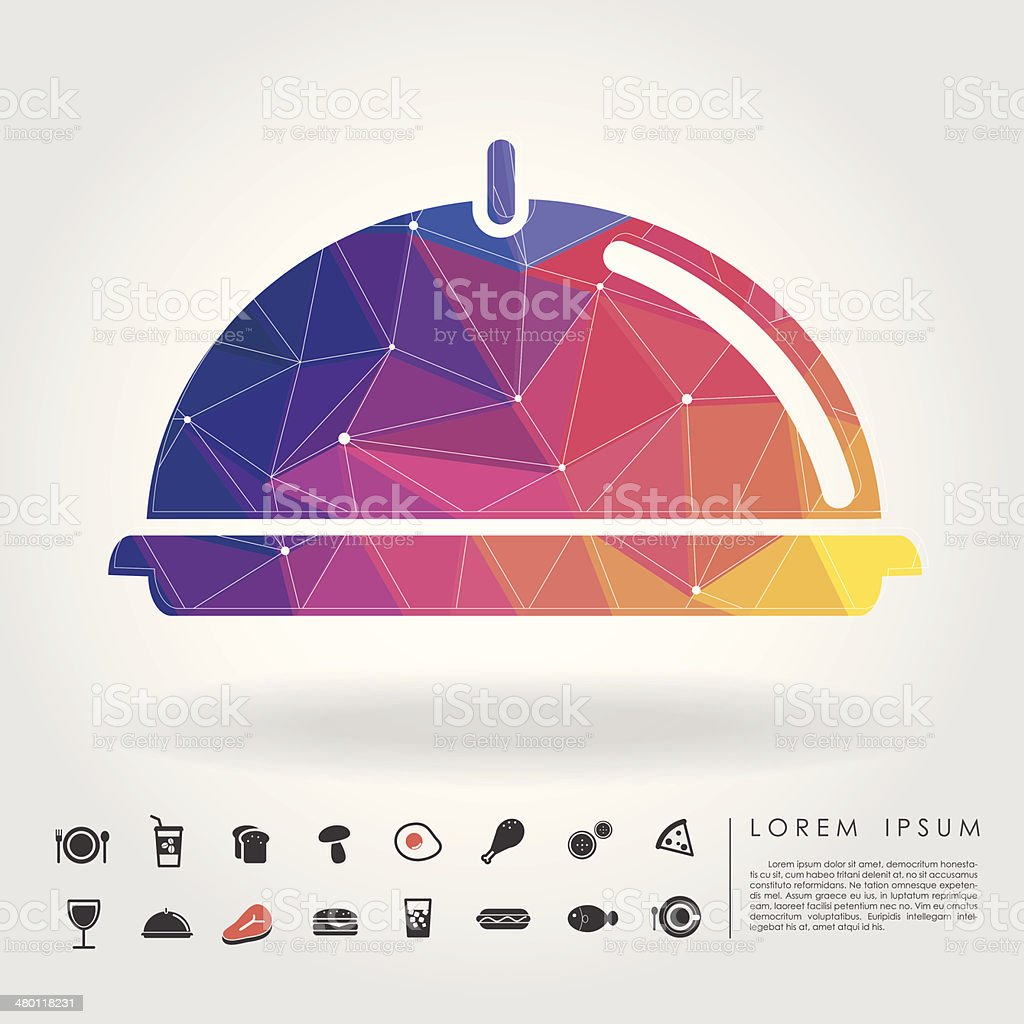 polygon holding tray with food icon vector art illustration