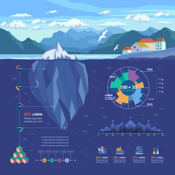 illustrazioni stock, clip art, cartoni animati e icone di tendenza di polygon iceberg infographic - fiordi