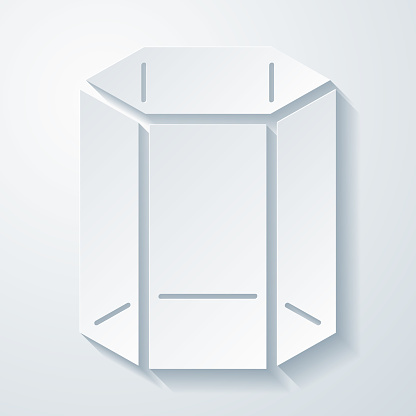 3D Polygon. Icon with paper cut effect on blank background