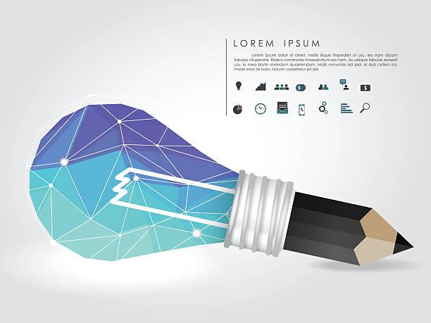 polygon idee glühbirne und bleistift mit business-symbol - buchstabenschreibweise stock-grafiken, -clipart, -cartoons und -symbole