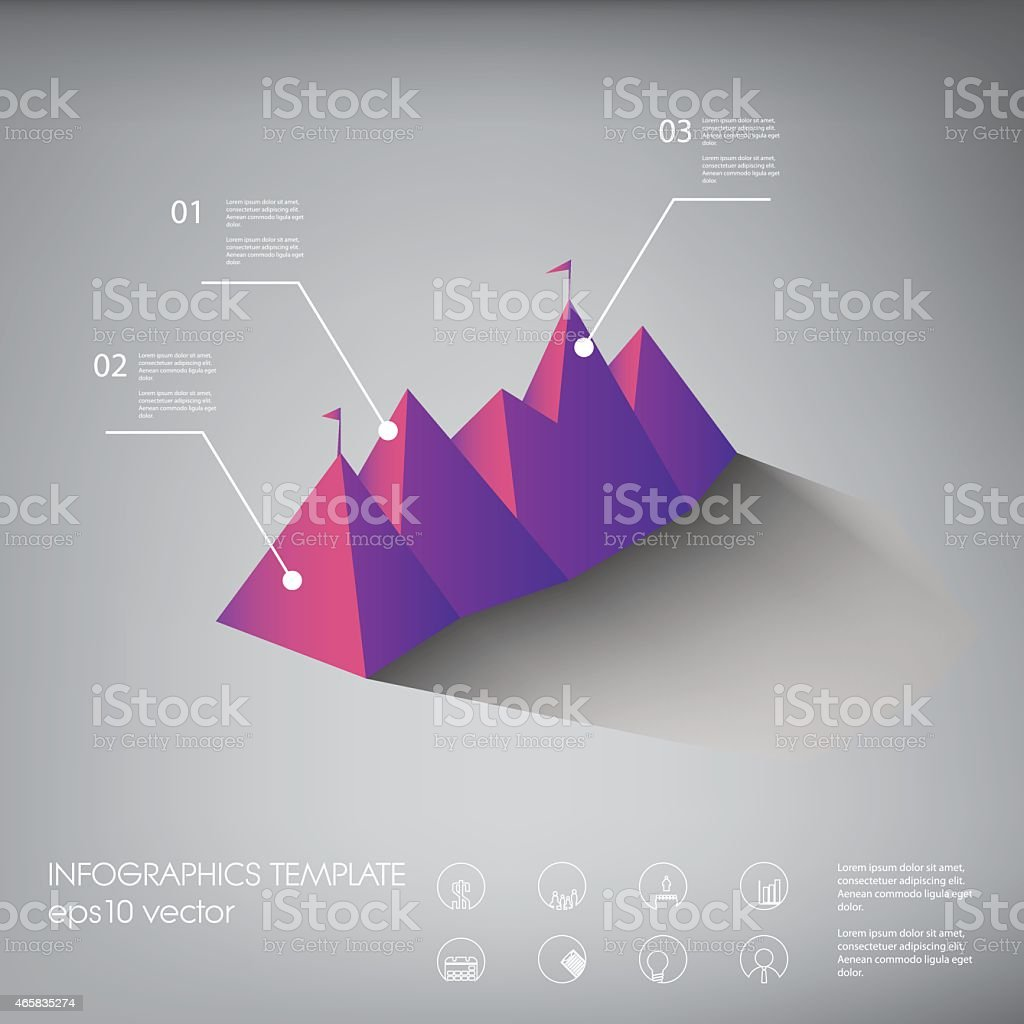 Polygon infographics background template or layout with line icons. Suitable vector art illustration