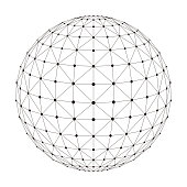 polygon mesh sphere, thin line,  vector illustration
