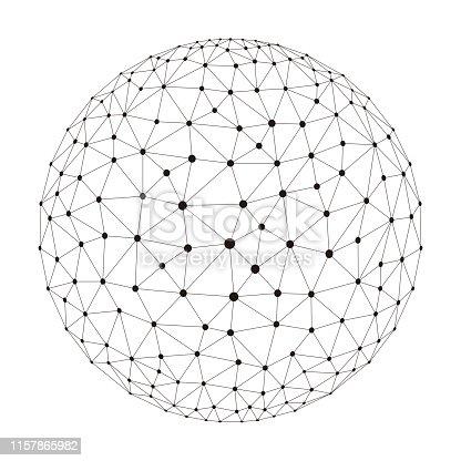 polygon mesh sphere, thin line,  vector illustration