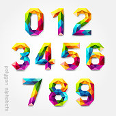 Polygon number alphabet colorful font style.