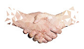Polygon of Two High Tech Hands Handshaking, White Background.