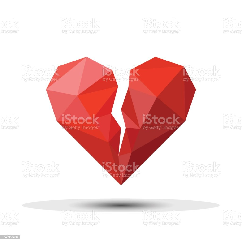Polygon Red Broken Heart Icon For Valentine's Day. vector art illustration