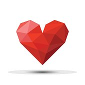 Polygon Red Heart Icon For Valentine's Day. Vector.